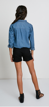 Chambray Denim Short Outfit