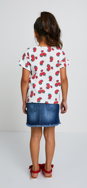 Strawberry Tee Denim Skirt Outfit