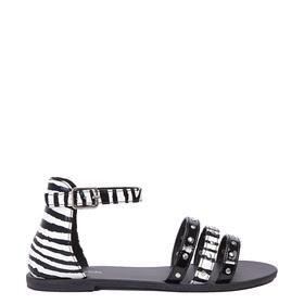 Black Zebra Strappy Sandal