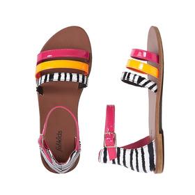 Pink Zebra Strappy Sandal