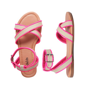 Pink Canvas Strappy Sandal