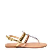 Metallic T-Strap Sandal