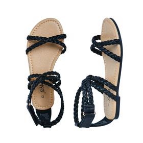 Black Braided Strap Sandal