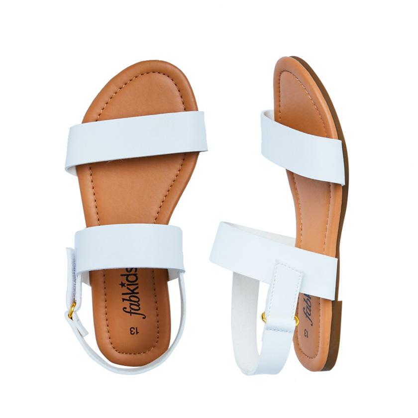 d9f32a094307 White Two-Strap Sandal - FabKids