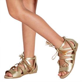 Gold Lace Up Sandal