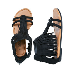 FabKids Shoes Fringe Sandal Girls Black Size 12 This fun sandal takes the fringe trend all the way to her feet! Featuring back zipper for easy on and off.