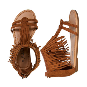 FabKids Shoes Fringe Sandal Girls Brown Size T7 This fun sandal takes the fringe trend all the way to her feet! Featuring back zipper for easy on and off.