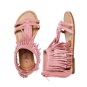 FabKids Shoes Fringe Sandal Girls Pink Size T9 This fun sandal takes the fringe trend all the way to her feet! Featuring back zipper for easy on and off.