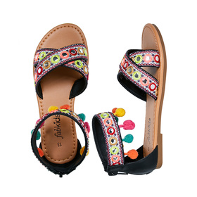 Pom Pom Embroidered Sandal
