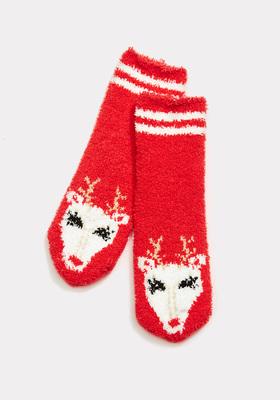 Reindeer Fuzzy Socks