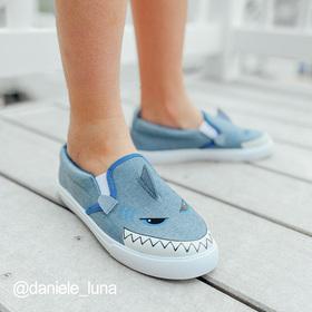 Photo of Chambray Shark Face Slip On Sneaker