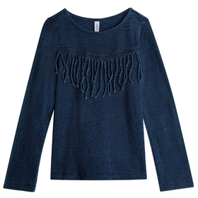 Indigo Knit Fringe Top