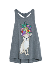 Pineapple Dog Knot Back Graphic Tank
