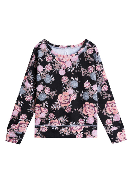 Black Floral Sweatshirt