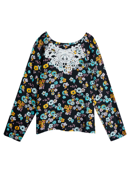 Lace Overlay Floral Top