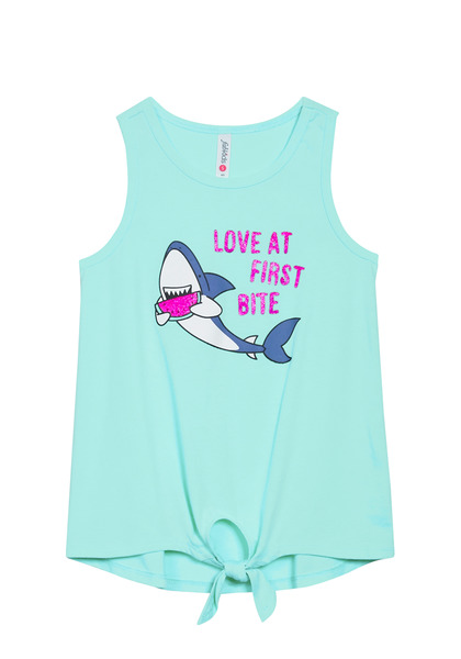 Love At First Bite Knot Front Graphic Tank