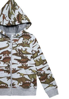 Dino Print Zip Up Hoodie