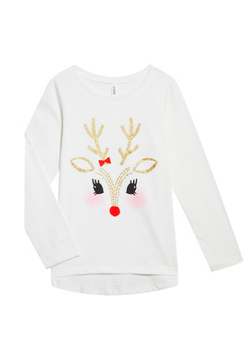 Reindeer Face Long Sleeve Tee